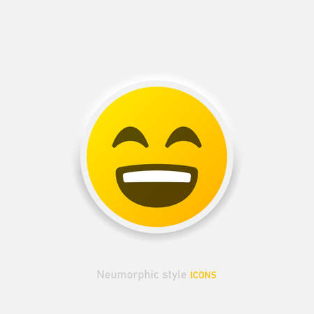 Neumorphic emoji vector icon. Positive laughing emoticon in neumorphism style isolated on gray background Vector EPS 10 Иллюстрация