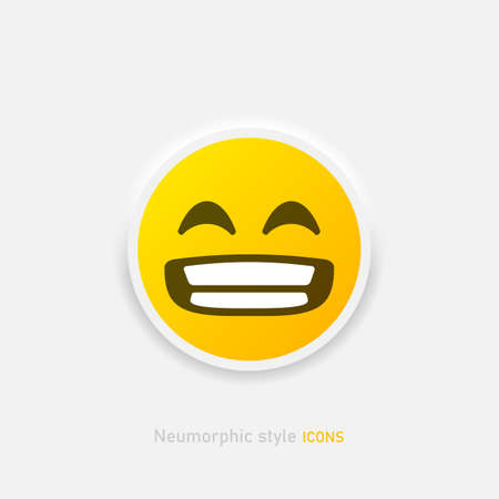 Gritting his teeth laughing. Neumorphic emoji vector icon. Positive emoticon in neumorphism style isolated on gray background Vector EPS 10