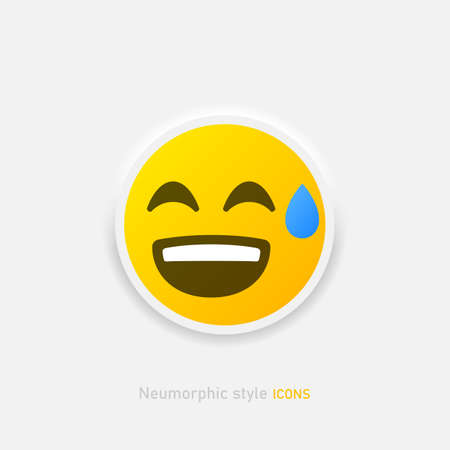 Neumorphic emoji vector icon. Positive laughs to tears emoticon in neumorphism style isolated on gray background Vector EPS 10