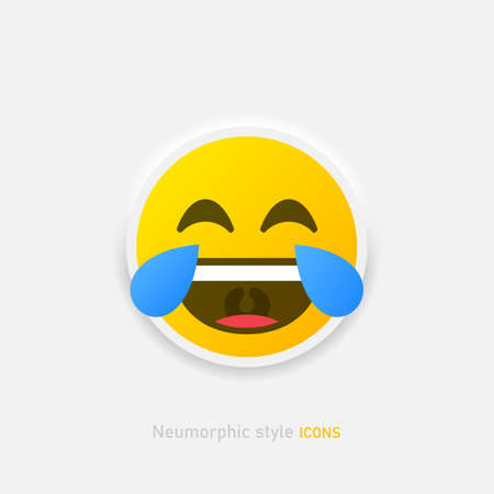 Positive laughs to tears emoticon in neumorphism style. Neumorphic emoji vector icon isolated on gray background Vector EPS 10 Иллюстрация
