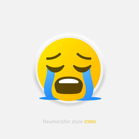 Emoji crying vector icon. Neumorphic style cry emoticon isolated on gray background Vector EPS 10