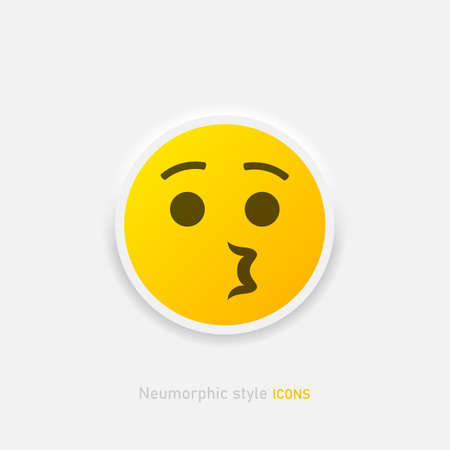 Neumorphic emoji vector icon. Positive whistling emoticon in neumorphism style isolated on gray background Vector EPS 10 Иллюстрация
