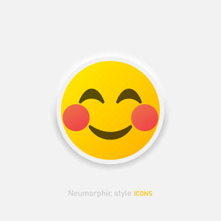 Neumorphic emoji vector icon. Positive embarrassed emoticon in neumorphism style isolated on gray background Vector EPS 10