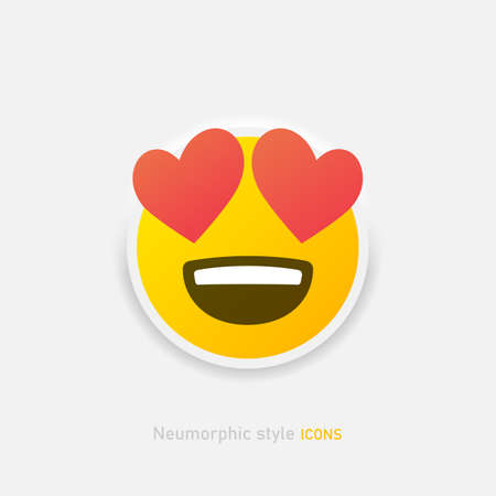 Neumorphic enamored emoji vector icon. Positive love emoticon with hearts in neumorphism style isolated on gray background Vector EPS 10