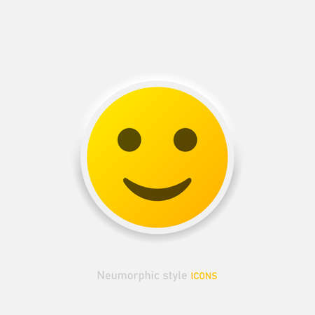 Neumorphic emoji vector icon. Positive smile emoticon in neumorphism style isolated on gray background Vector EPS 10