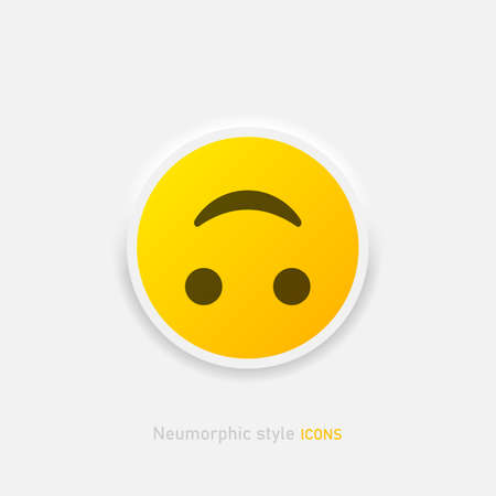 Neumorphic emoji vector icon. Positive inverted smile emoticon in neumorphism style isolated on gray background Vector EPS 10 Иллюстрация