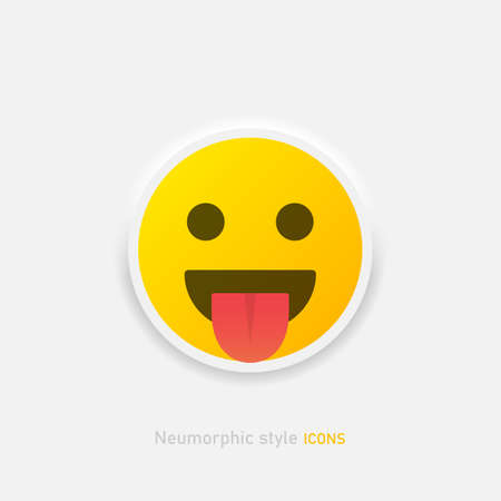 Neumorphic emoji shows tongue vector icon. Positive smile in neumorphism style isolated on gray background Vector EPS 10