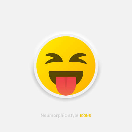 Neumorphic emoji vector icon. Positive emoticon with tongue in neumorphism style isolated on gray background Vector EPS 10 Иллюстрация