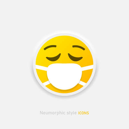 Medical Mask Emoji vector icon in neumorphic style. Chat Elements. Virus Protection. Doctor symbol Vector EPS 10 Иллюстрация