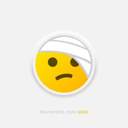 Bandaged head vector emoji sticker icon. Neumorphic Element of emoji for mobile concept and web apps Vector EPS 10 Иллюстрация