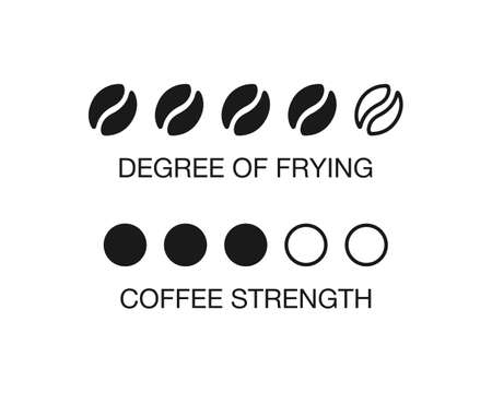 Indicator of coffee degree of roasting. Coffee bean degree of frying and strenght level Vector EPS 10