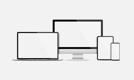 Realistic electronic devices display screen set. Blank screen of Computer, laptop, tablet and smartphone isolated Vector illustration EPS 10 Иллюстрация