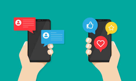 Smartphones with social media notifications on screen in hands. Messages, like, thumb up symbols on devices display Vector illustration EPS 10