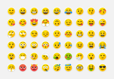 Colorful emoticons vector pack. Yellow smile Emoji in neumorphic style big set. Neumorphism design icons Vector EPS 10