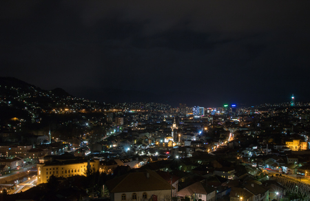 Night view of Sarajevo from the Yellow Fortress