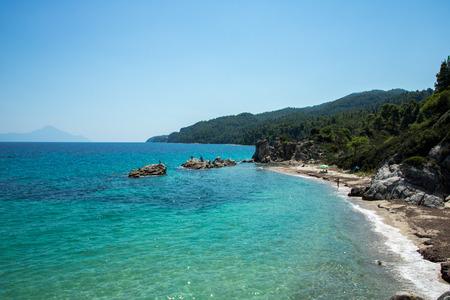 Fava beach near Vourvourou, Greek peninsula Sithonia Imagens