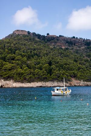 Small town and port of Assos, island Kefalonia (Cephalonia), Greece Stock Photo