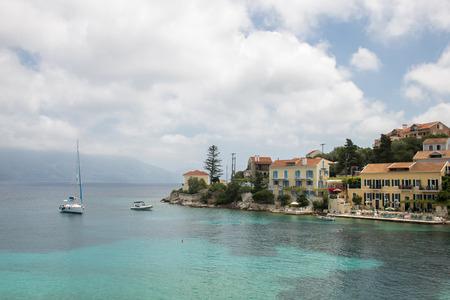 The city and port of Fiskardo, island Kefalonia (Cephalonia), Greece Stock Photo