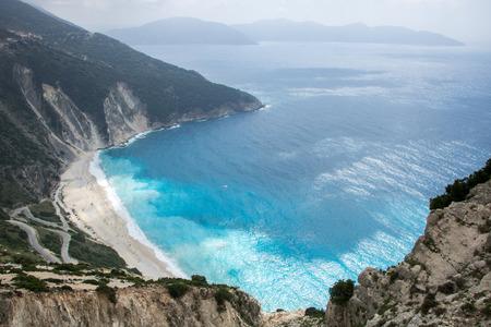 Famous Myrtos beach on Greek island Kefalonia (Cephalonia), view from above