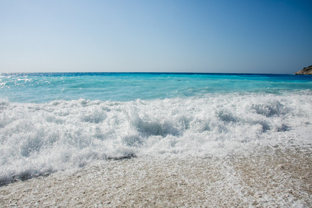 Big waves on Myrtos beach, island Kefalonia (Cephalonia), Greece