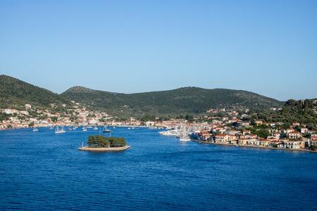 City of Vathy, the capital of Greek island Ithaca Stock Photo