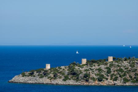 Three mills of Kioni, island Ithaca, Greece