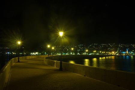 Night view of Argostoli, the capital of Greek island Kefalonia Stock Photo