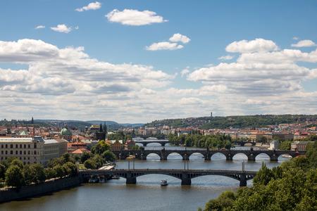 Bridges on Vltava river in Prague, Czech Republic Editorial
