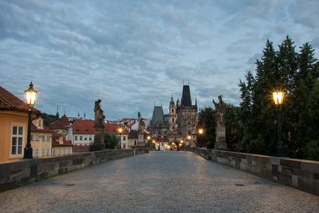 Morning on Charles Bridge in Prague, Czech Republic