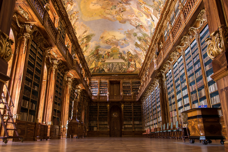 Library of Strahov Monastery (Philosophical Hall) in Prague, Czech Republic Stock Photo - 108789789