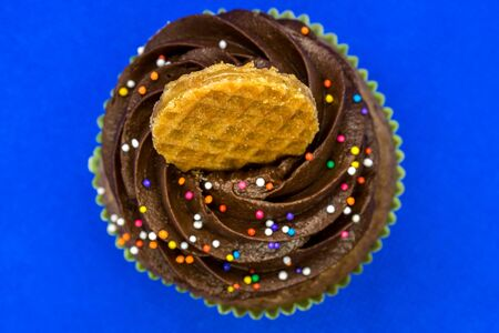 Decorated cupcake - top view