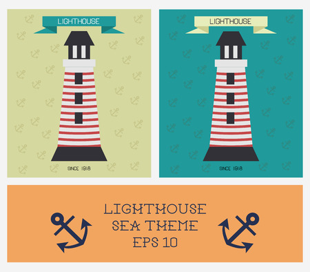 coastlines: Lighthouses in modern flat style. Tower for security and clear direction. Sea theme. With place for text. Illustration