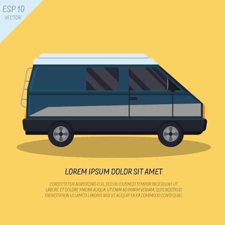 minivan: Cool passenger minivan van in flat style on yellow background, side view. Retro design. Illustration