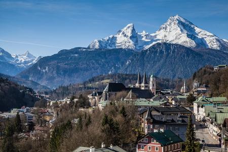 berchtesgaden: View over Berchtesgaden with the Watzmann Group in background Stock Photo