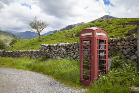 A typical English red telephone box