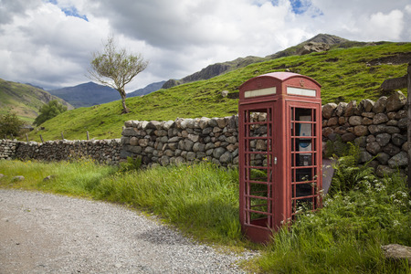 red telephone: A typical English red telephone box
