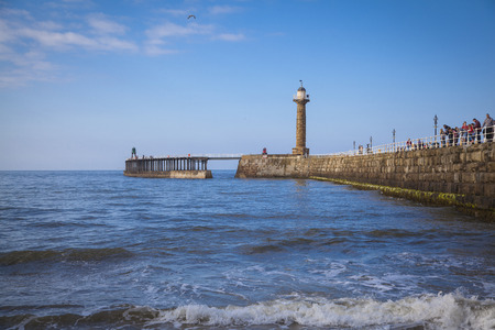 pleasure ship: The harbour and lighthouses of Whitby