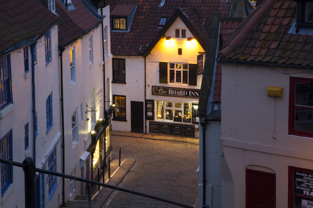 pleasure ship: Night image in the streets of Whitby Stock Photo