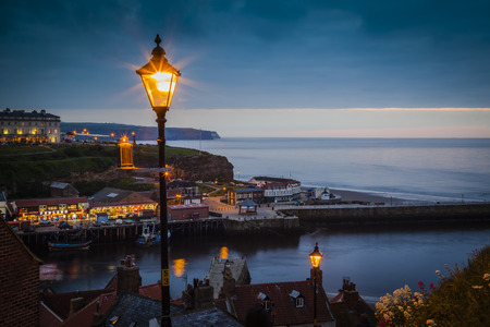 View over Whitby at blue hour photo