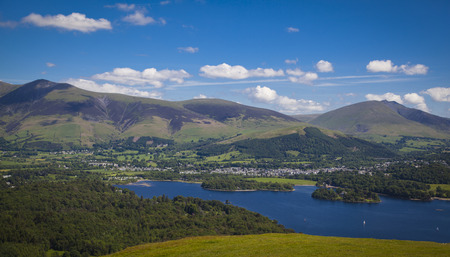 lakeland: Views from  Catbells down to Derwentwater and  Keswick Stock Photo