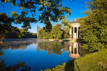 nymphenburg palace: Pavillon on a lake in park of Nymphenburg palace