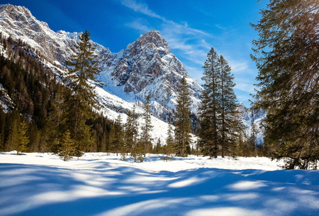 South Tyrol in winter time with a lot of snow Standard-Bild