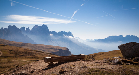 Alpe di Siusi plateau in South Tyrol with the mountains in the background Stock Photo