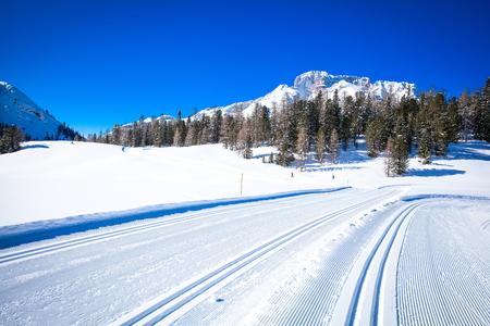 cross country: Pista de fondo en Tirol del Sur en invierno con mucha nieve Foto de archivo