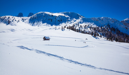 South Tyrol in winter time with a lot of snow Stock Photo