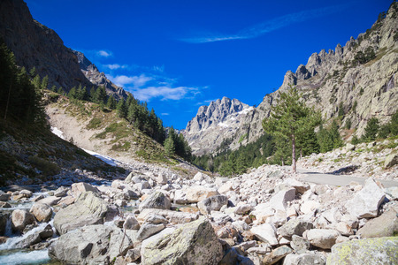 natural landscapes: Natural landscapes in Restonica Valley in Corsica Stock Photo