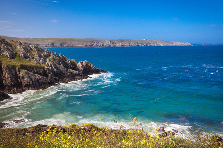 brittany: Pointe du Raz peninsula in Finistere Brittany Stock Photo