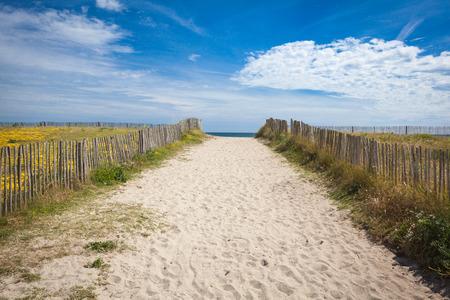 部ブルターニュ フィニスターの砂浜のビーチで