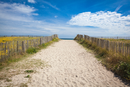 On a sandy beach in the department Finistere in Brittany Standard-Bild