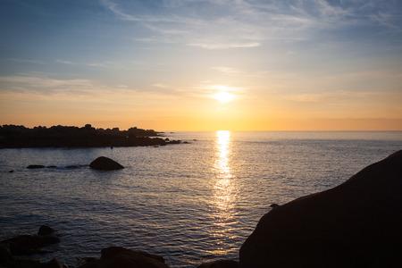 Ploumanach Cotes granites rose Brittany France sunset Reklamní fotografie - 41741233